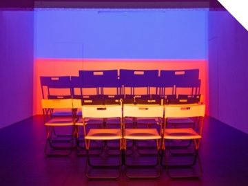 Holly Rowan Hesson, Assembly, 2016, projection (looped series of 147 stills for each of three projectors), chairs, dimensions variable Photo credit: Jules Lister